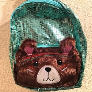 "Handbags - ""Beary Sweet"" Mint Green Sequin Mini Backpack"